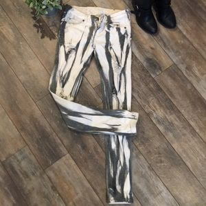 Gray and White skinny distressed Machine Jeans